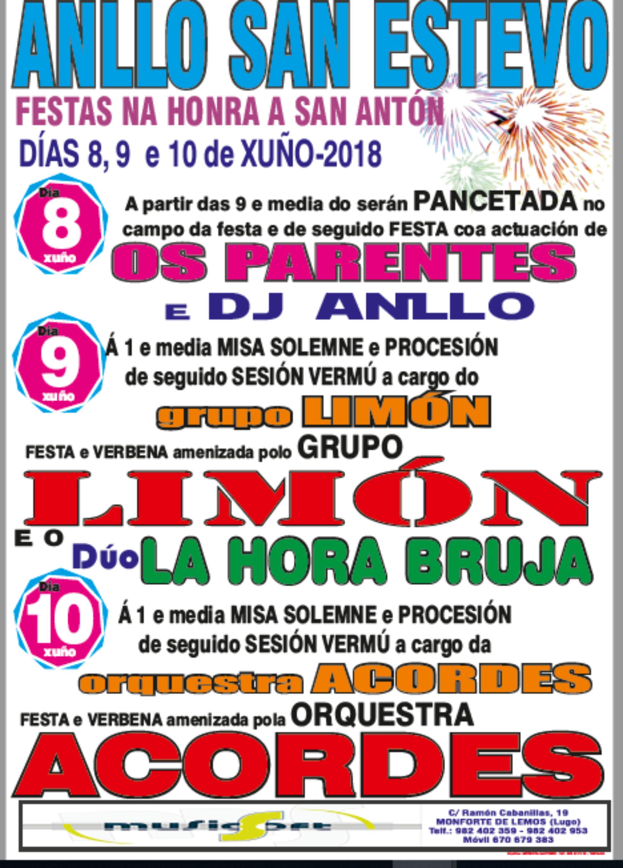 CARTEL FIESTAS SAN ESTEBAN DE ANLLO 2018