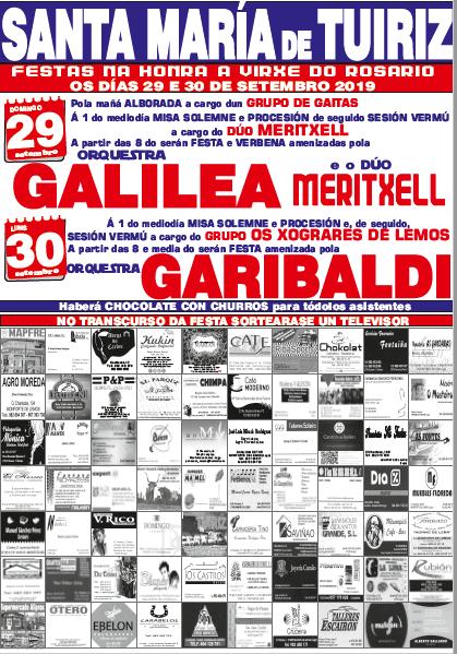 CARTEL FIESTA SANTA MARIA DE TUIRIZ 2019 - MUSICSOFT