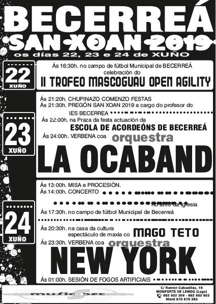 CARTEL FIESTAS DE SAN JUAN - BECERREÁ 2019 - MUSICSOFT