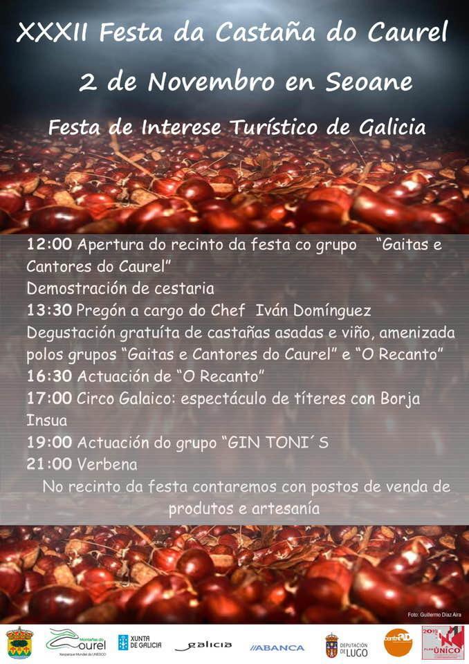 CARTEL XXXII FESTA DA CASTAÑA DO CAUREL - MUSICSOFT - CONTRATACIÓN